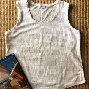 Calvin Klein white casual perforated tank top